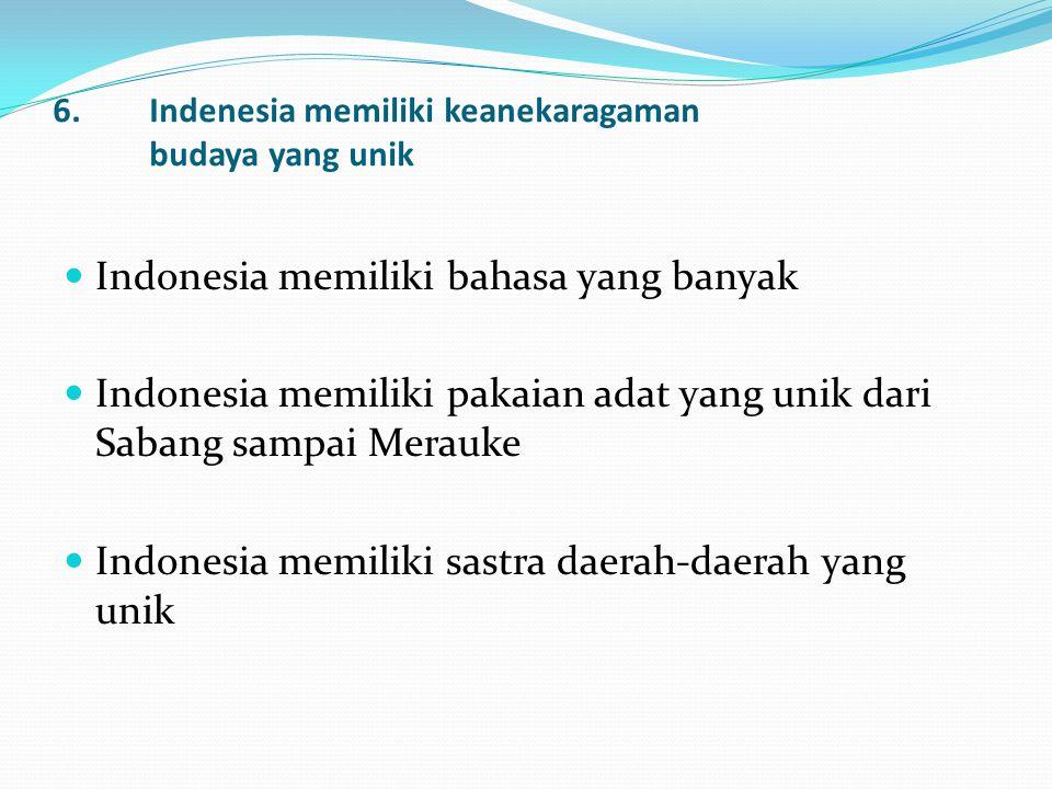 6. Indenesia memiliki keanekaragaman budaya yang unik