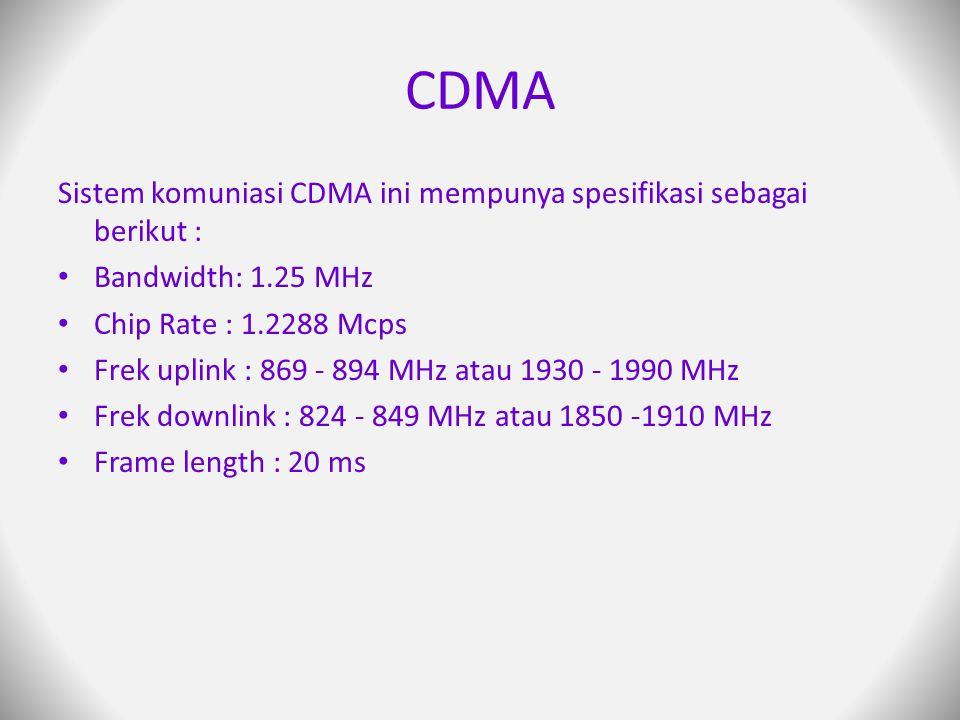 CDMA Sistem komuniasi CDMA ini mempunya spesifikasi sebagai berikut :