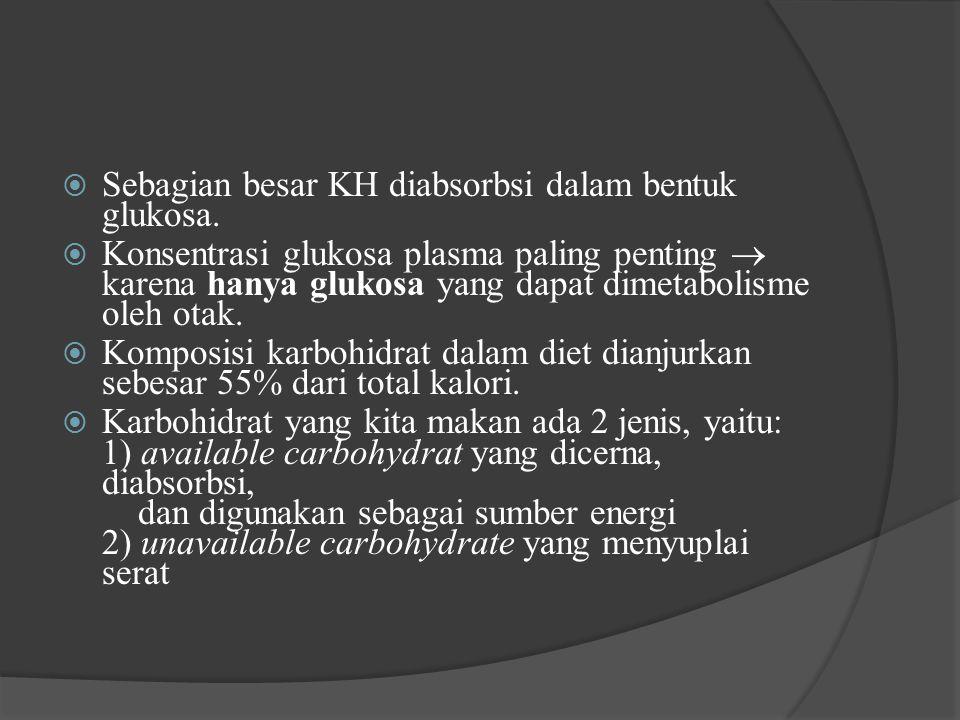Sebagian besar KH diabsorbsi dalam bentuk glukosa.