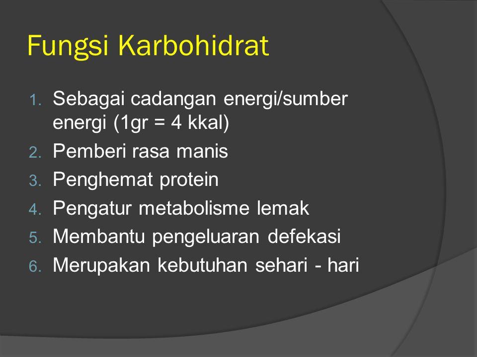 Fungsi Karbohidrat Sebagai cadangan energi/sumber energi (1gr = 4 kkal) Pemberi rasa manis. Penghemat protein.