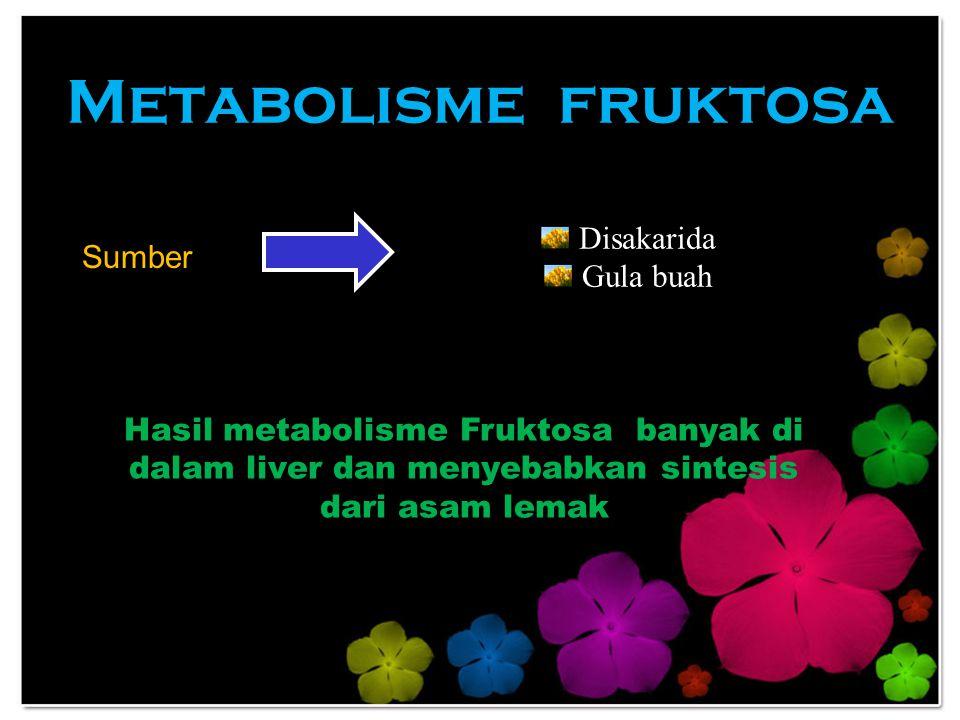 Metabolisme fruktosa Disakarida Sumber Gula buah