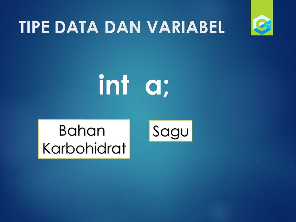 TIPE DATA DAN VARIABEL int a; Bahan Karbohidrat Sagu