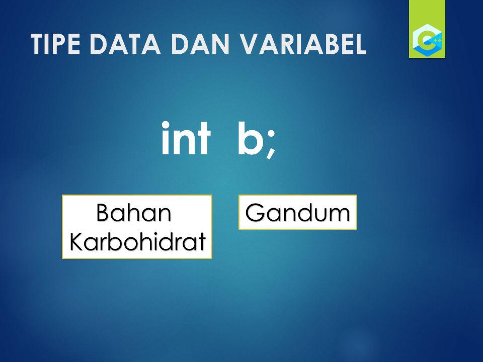 TIPE DATA DAN VARIABEL int b; Bahan Karbohidrat Gandum