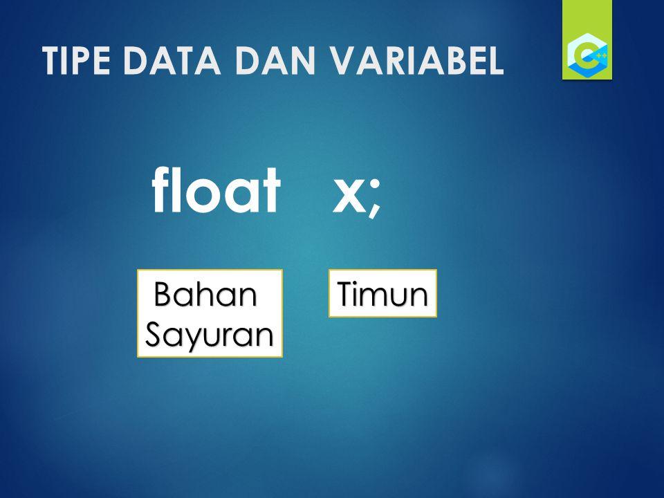 TIPE DATA DAN VARIABEL float x; Bahan Sayuran Timun