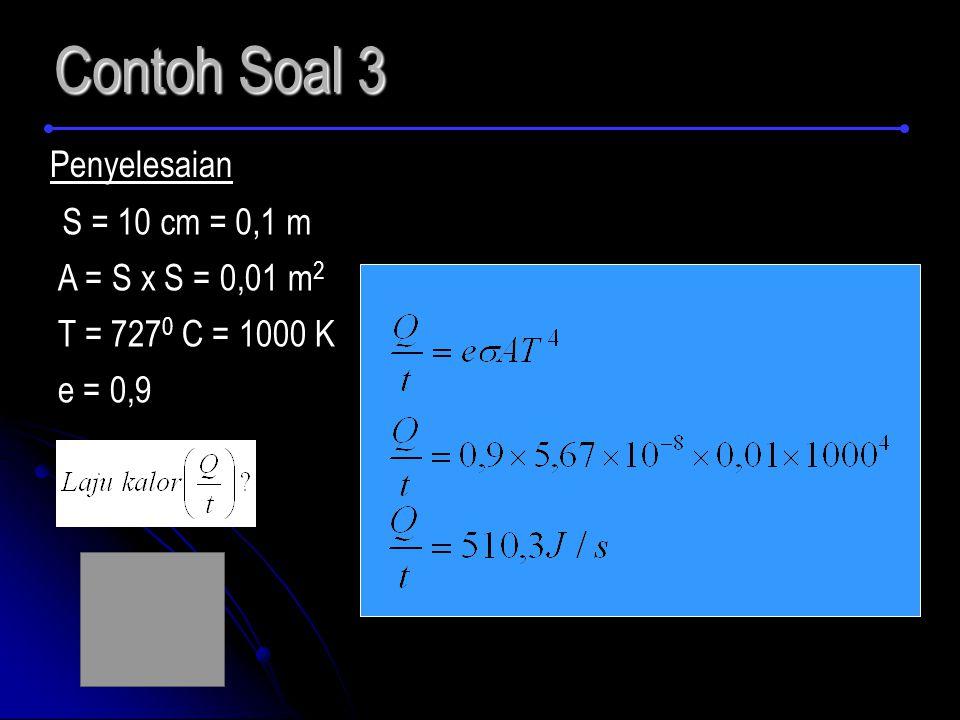 Contoh Soal 3 Penyelesaian S = 10 cm = 0,1 m A = S x S = 0,01 m2
