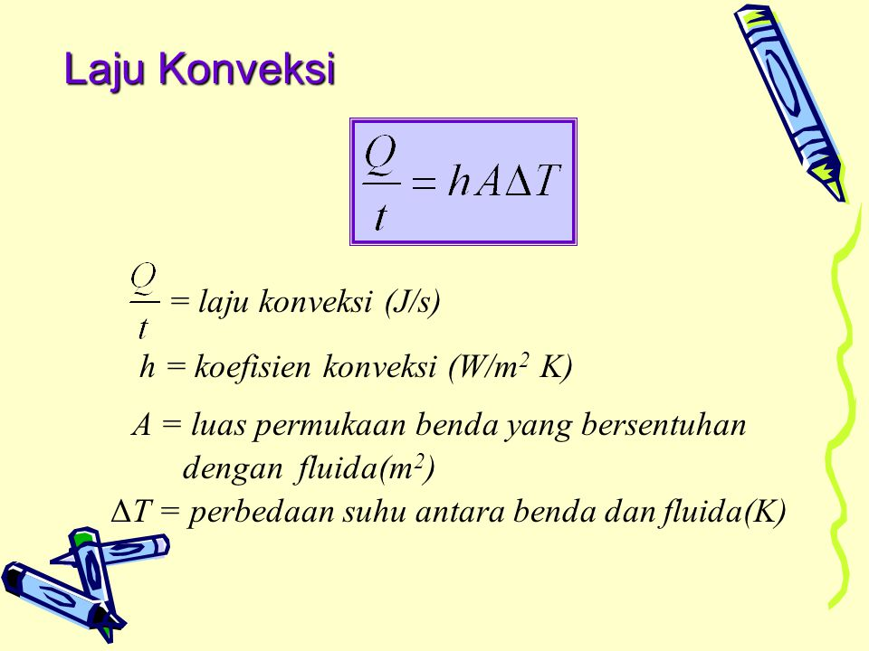 Laju Konveksi = laju konveksi (J/s) h = koefisien konveksi (W/m2 K)