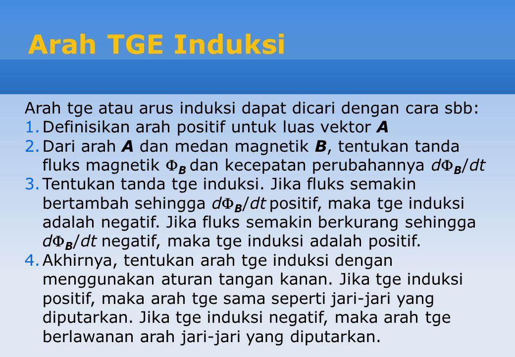 Arah TGE Induksi Arah tge atau arus induksi dapat dicari dengan cara sbb: Definisikan arah positif untuk luas vektor A.