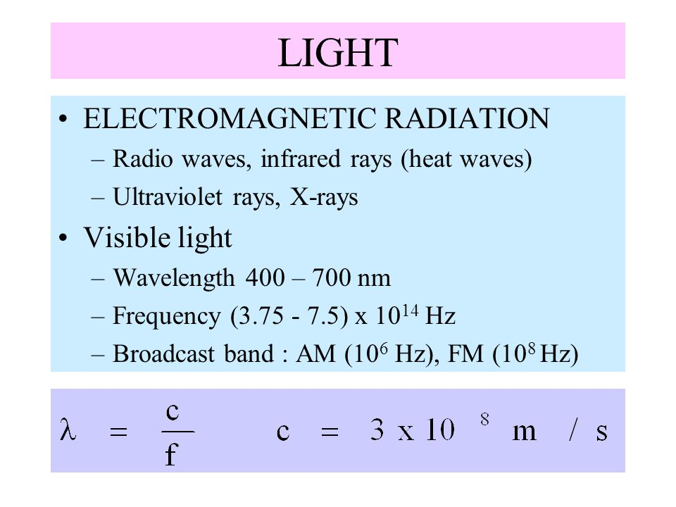 LIGHT ELECTROMAGNETIC RADIATION Visible light