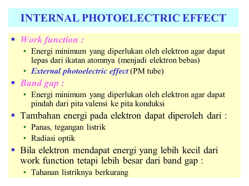 INTERNAL PHOTOELECTRIC EFFECT