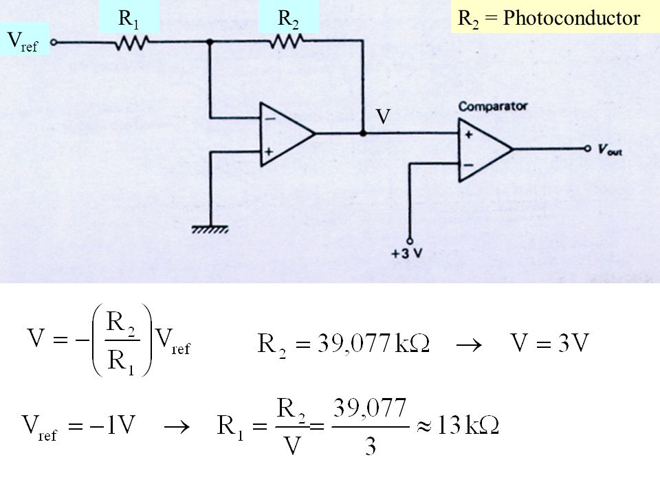 V R1 R2 Vref R2 = Photoconductor