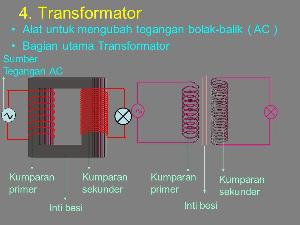 4. Transformator Alat untuk mengubah tegangan bolak-balik ( AC )