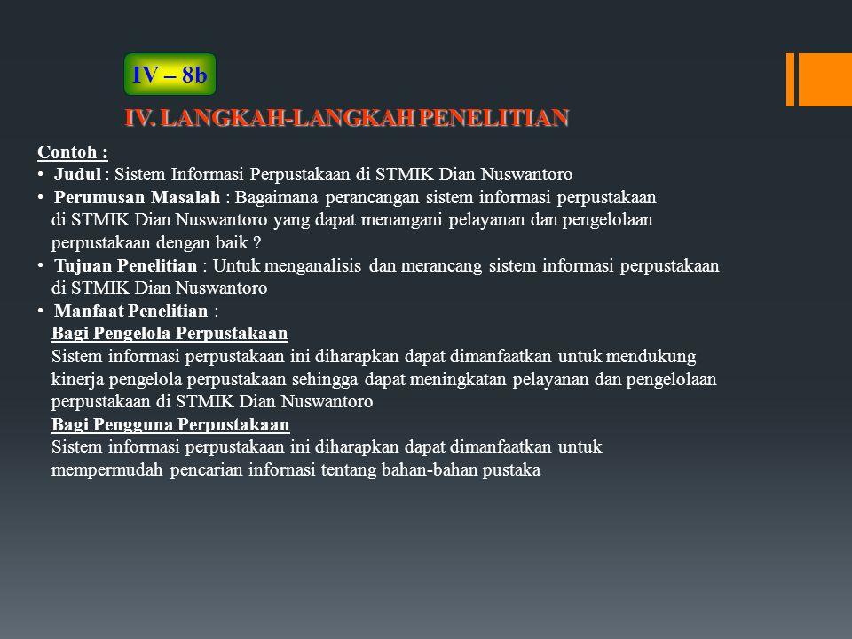 IV. LANGKAH-LANGKAH PENELITIAN