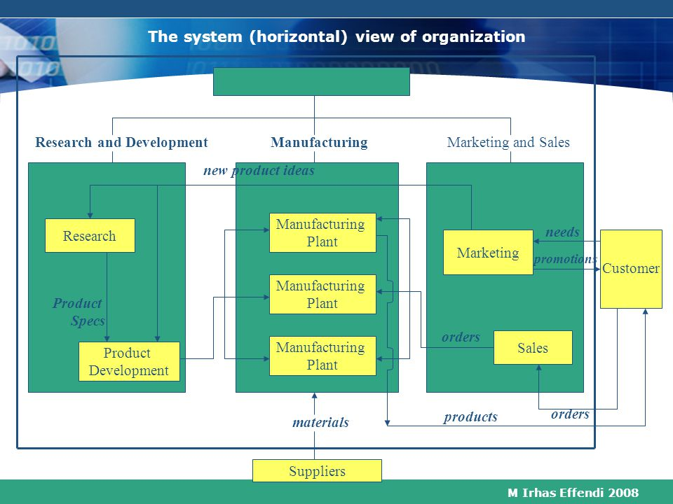 The system (horizontal) view of organization