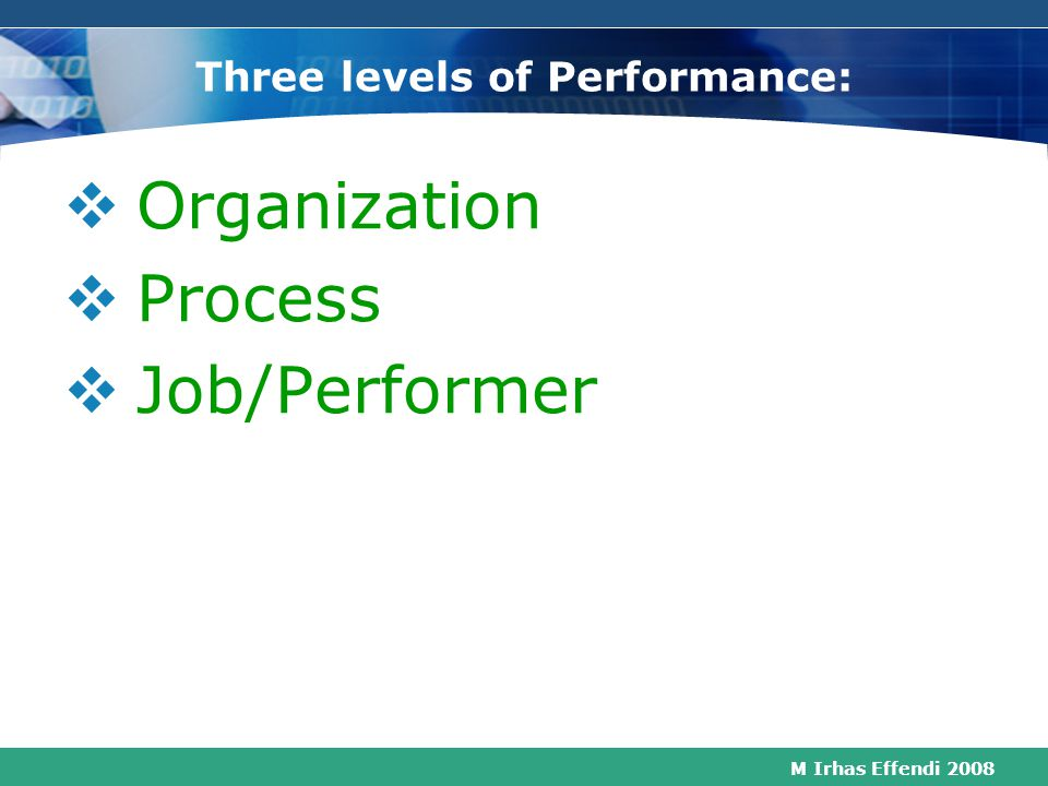 Three levels of Performance: