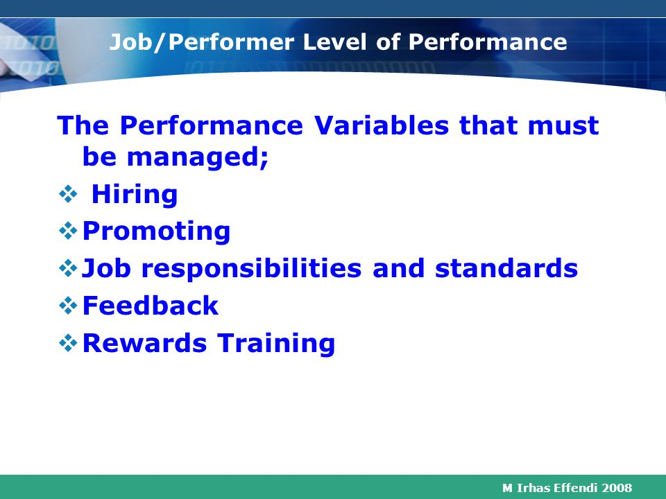 Job/Performer Level of Performance