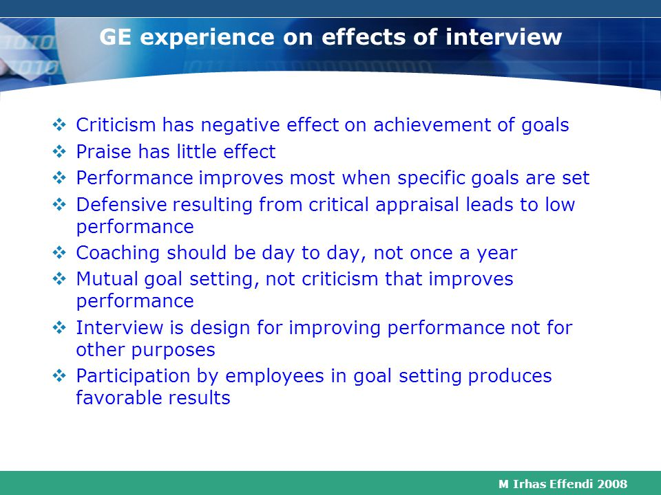 GE experience on effects of interview