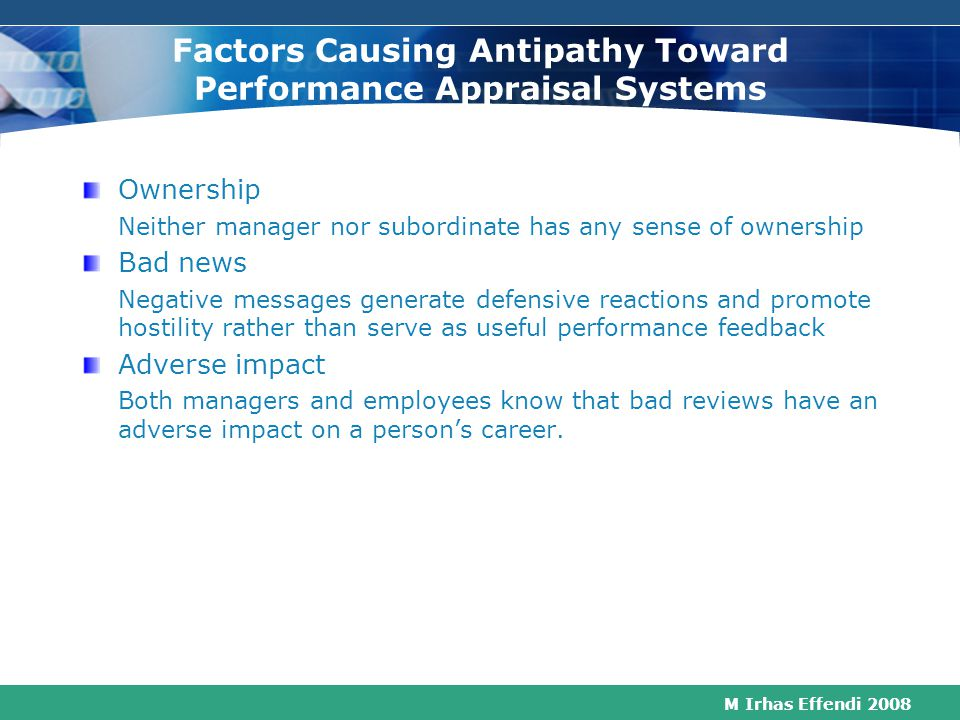 Factors Causing Antipathy Toward Performance Appraisal Systems