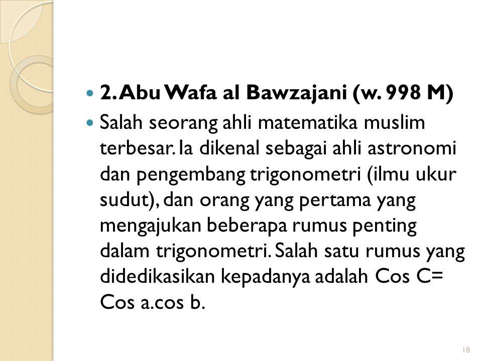 2. Abu Wafa al Bawzajani (w. 998 M)