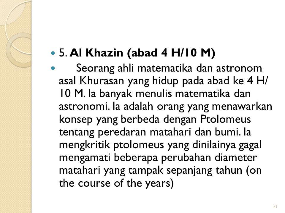 5. Al Khazin (abad 4 H/10 M)