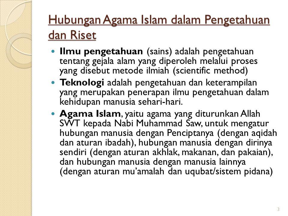 Hubungan Agama Islam dalam Pengetahuan dan Riset