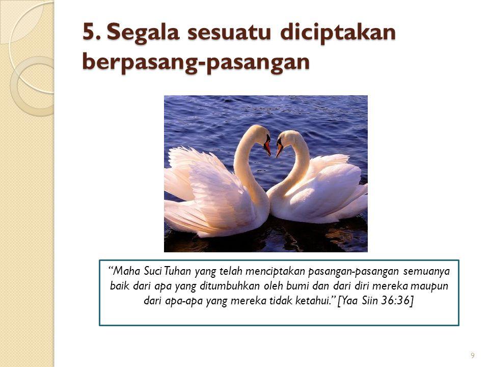 5. Segala sesuatu diciptakan berpasang-pasangan