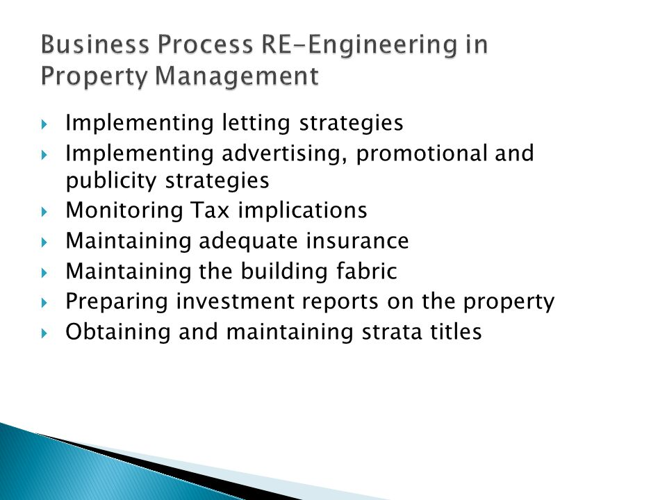 Business Process RE-Engineering in Property Management