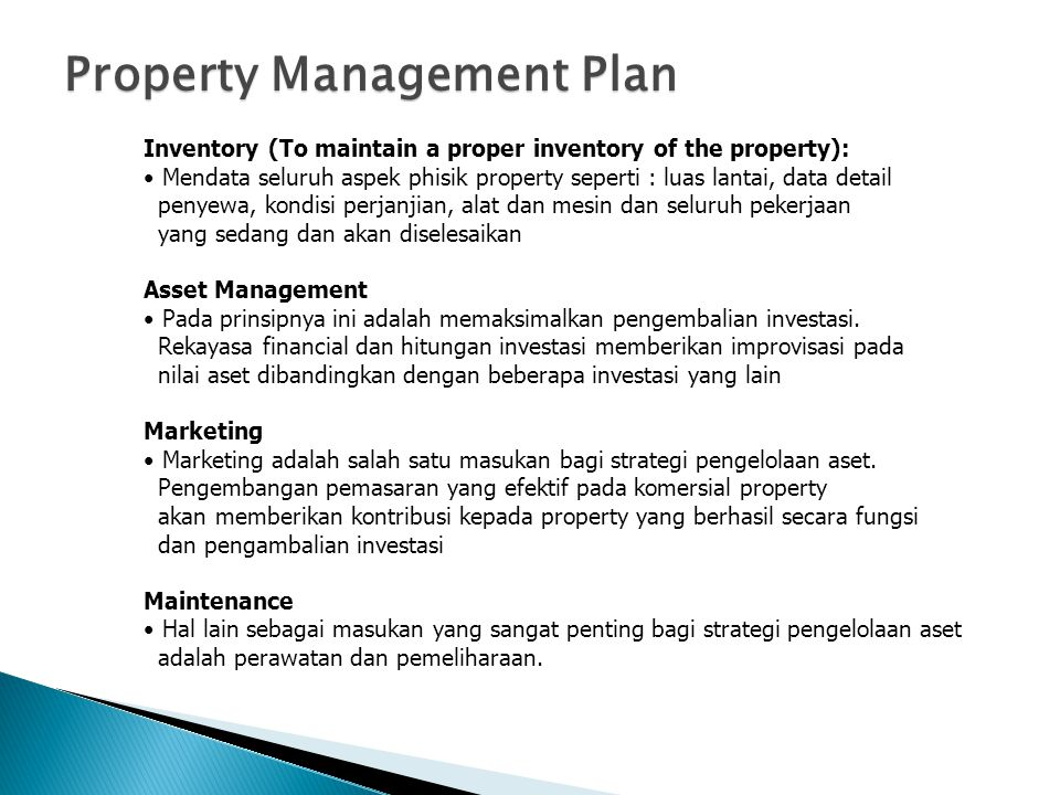 Property Management Plan