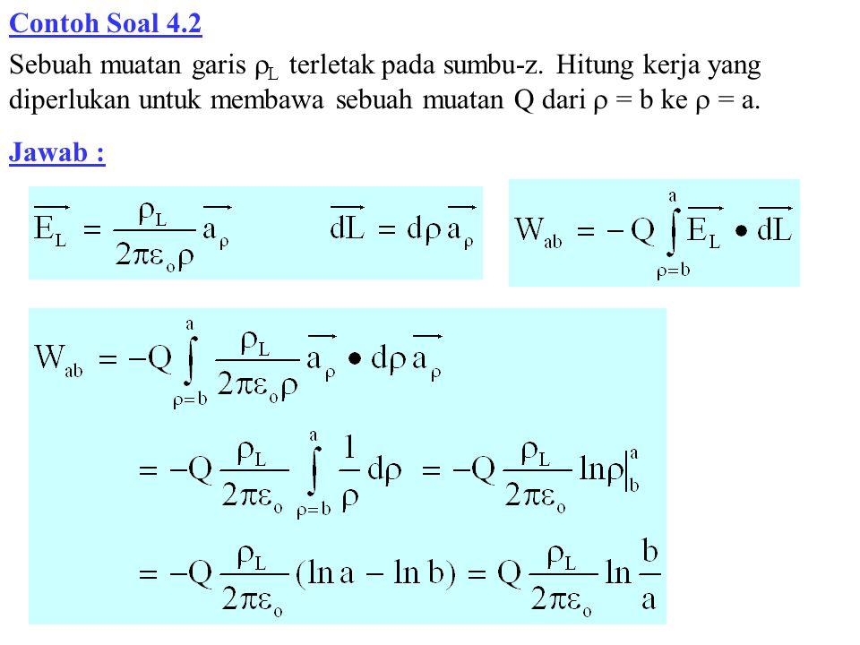 Contoh Soal 4.2 Sebuah muatan garis L terletak pada sumbu-z. Hitung kerja yang diperlukan untuk membawa sebuah muatan Q dari  = b ke  = a.