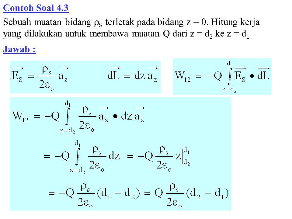Contoh Soal 4.3 Sebuah muatan bidang S terletak pada bidang z = 0. Hitung kerja yang dilakukan untuk membawa muatan Q dari z = d2 ke z = d1.
