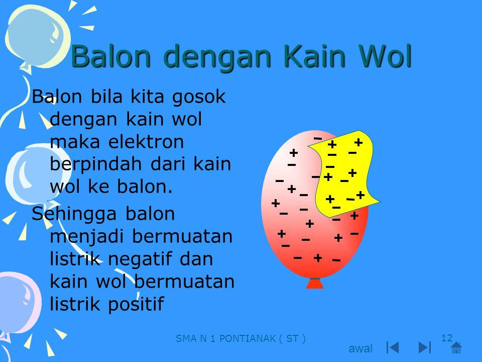 Balon dengan Kain Wol Balon bila kita gosok dengan kain wol maka elektron berpindah dari kain wol ke balon.