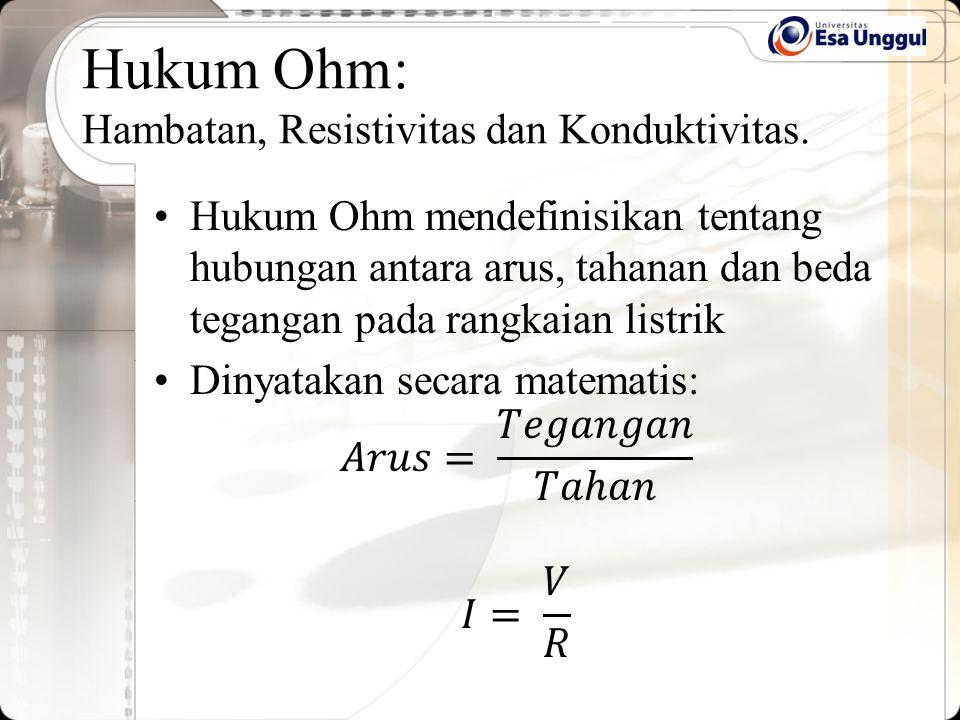 Hukum Ohm: Hambatan, Resistivitas dan Konduktivitas.