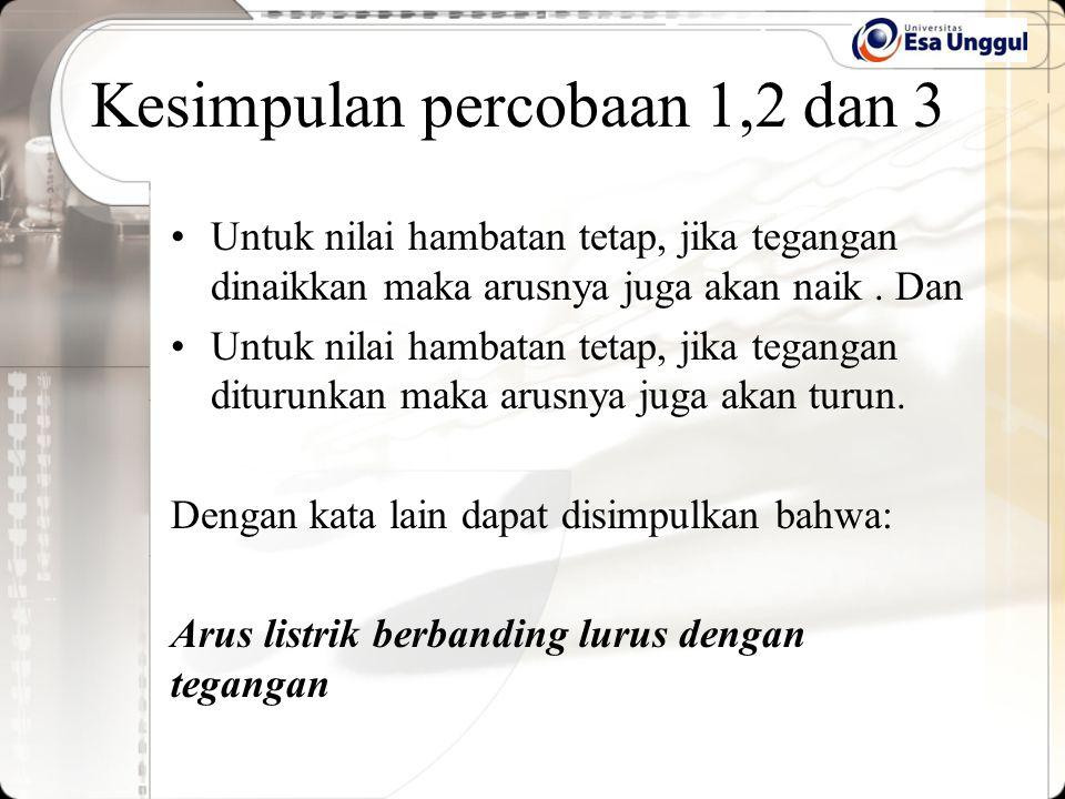 Kesimpulan percobaan 1,2 dan 3