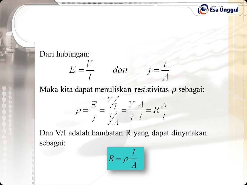 Dari hubungan: Maka kita dapat menuliskan resistivitas 𝜌 sebagai: Dan V/I adalah hambatan R yang dapat dinyatakan sebagai: