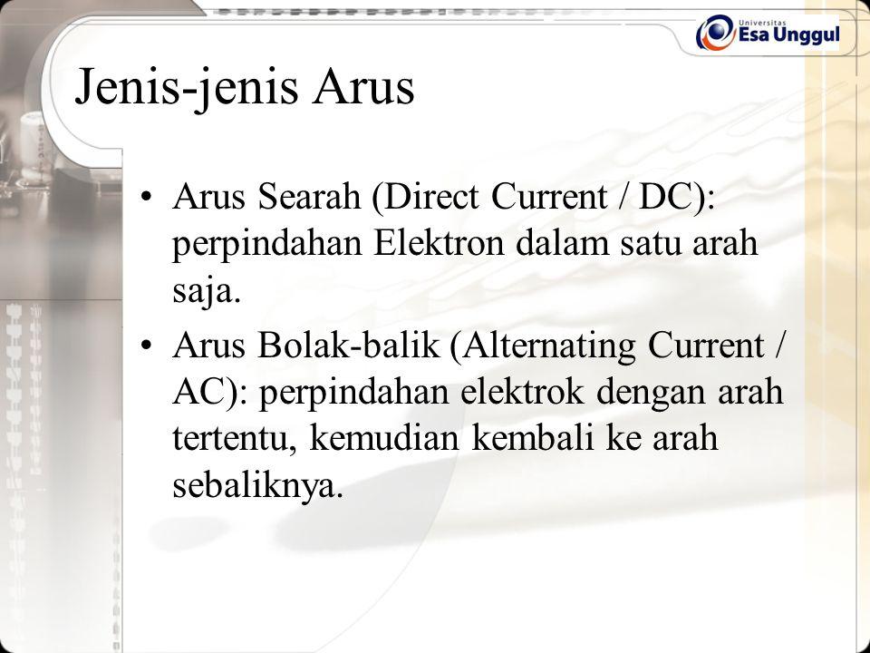 Jenis-jenis Arus Arus Searah (Direct Current / DC): perpindahan Elektron dalam satu arah saja.