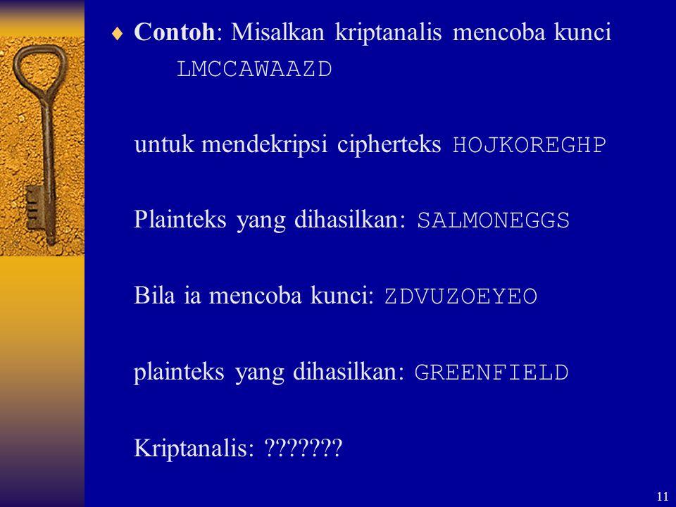 Contoh: Misalkan kriptanalis mencoba kunci