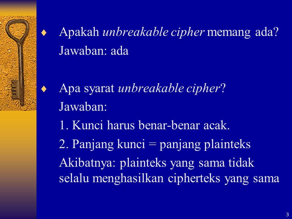 Apakah unbreakable cipher memang ada