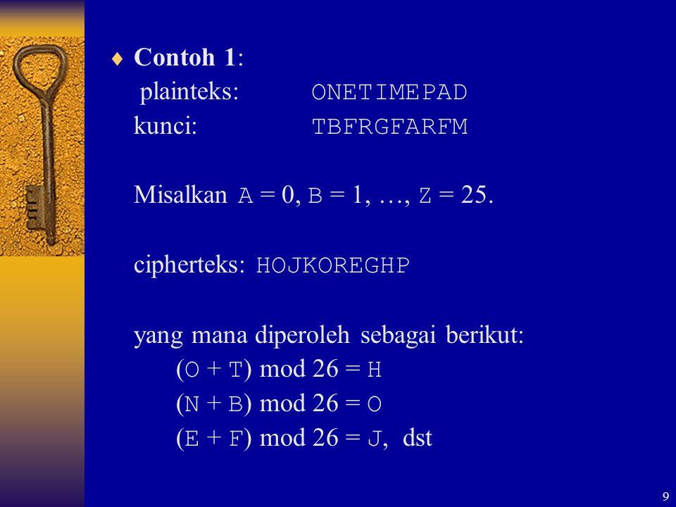 Contoh 1: plainteks: ONETIMEPAD. kunci: TBFRGFARFM. Misalkan A = 0, B = 1, …, Z = 25. cipherteks: HOJKOREGHP.