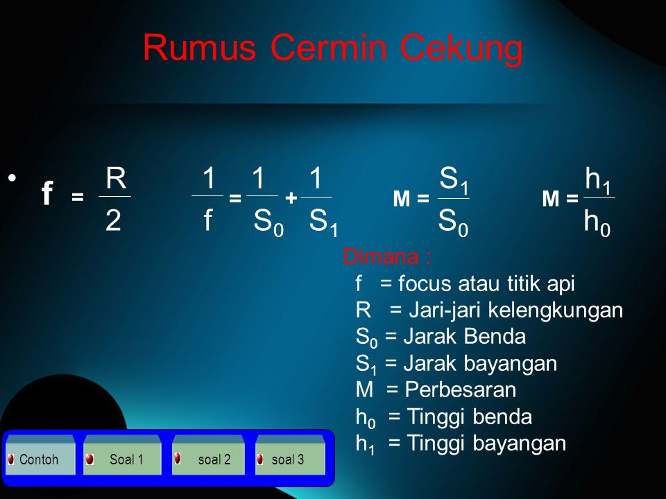 Rumus Cermin Cekung f = R 1 1 1 S1 h1 2 f S0 S1 S0 h0 = + M = M =