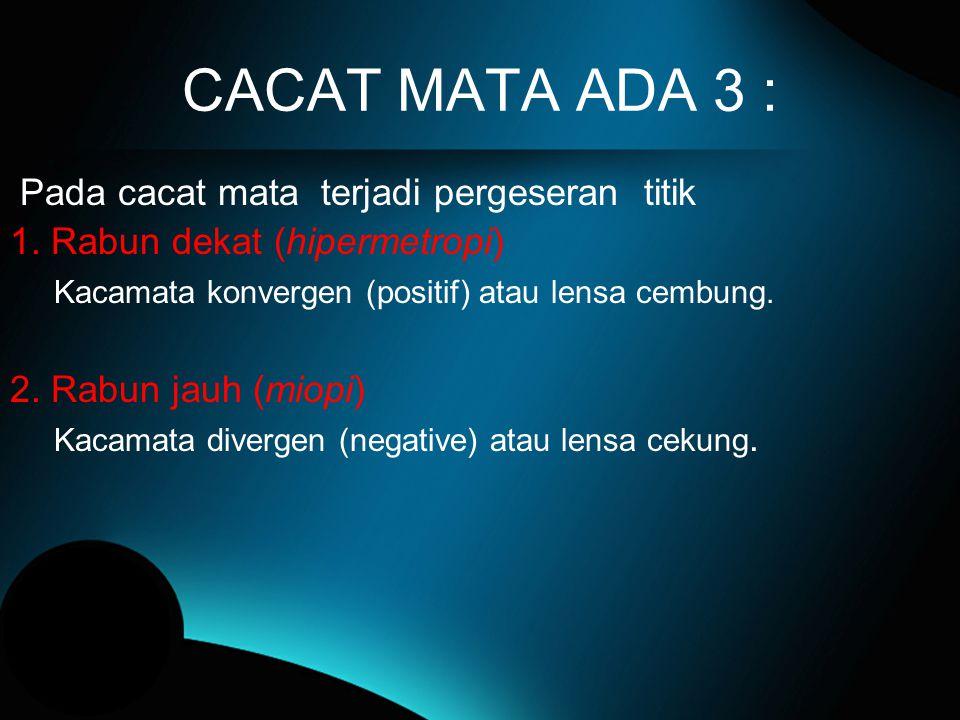 CACAT MATA ADA 3 : Pada cacat mata terjadi pergeseran titik