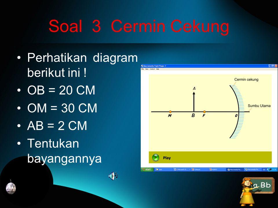 Soal 3 Cermin Cekung Perhatikan diagram berikut ini ! OB = 20 CM