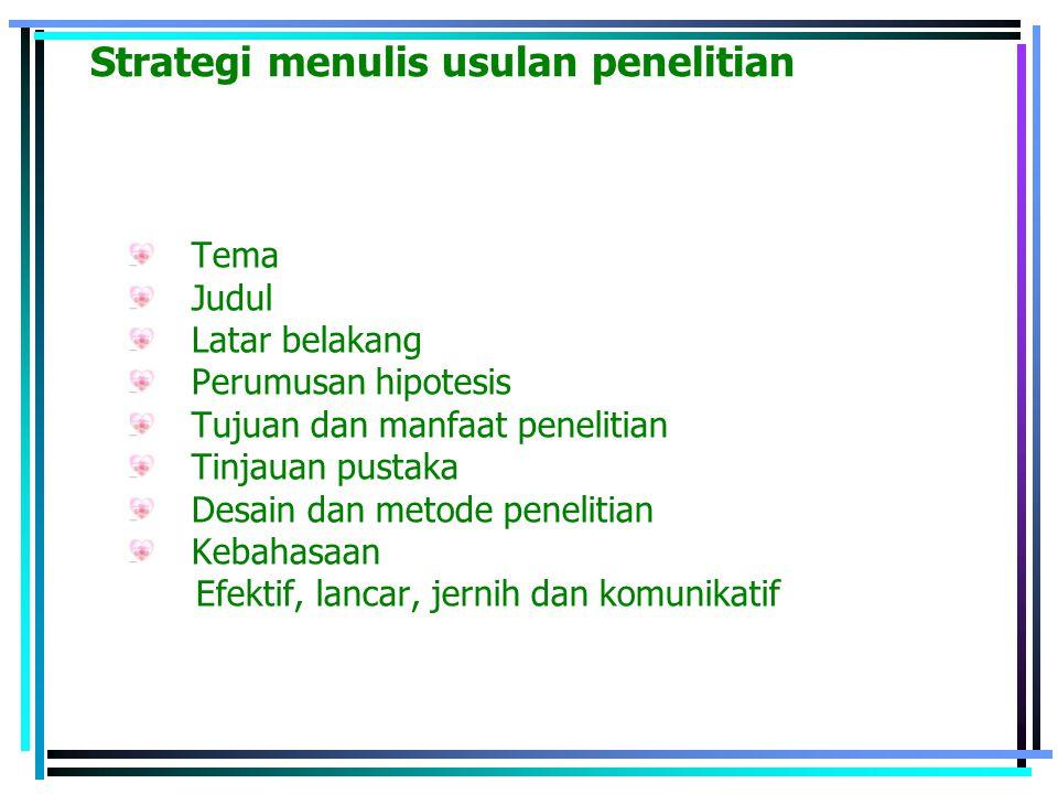 Strategi menulis usulan penelitian