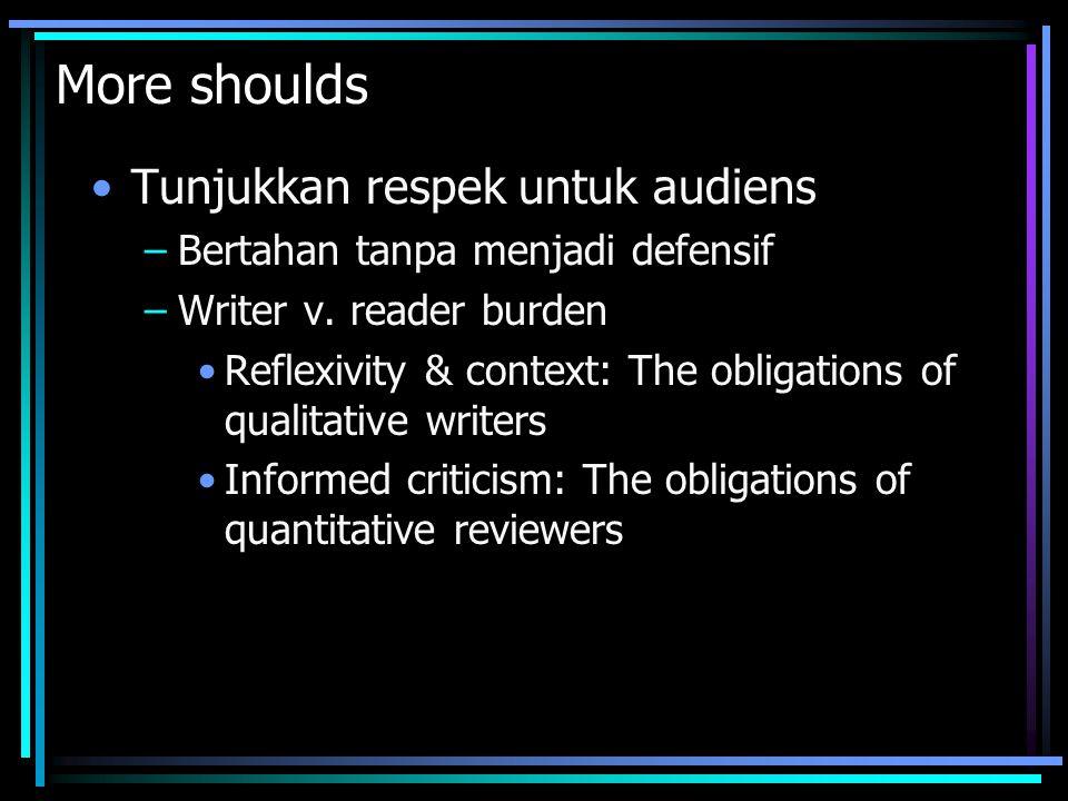 More shoulds Tunjukkan respek untuk audiens