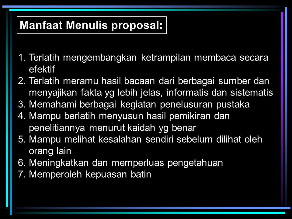 Manfaat Menulis proposal: