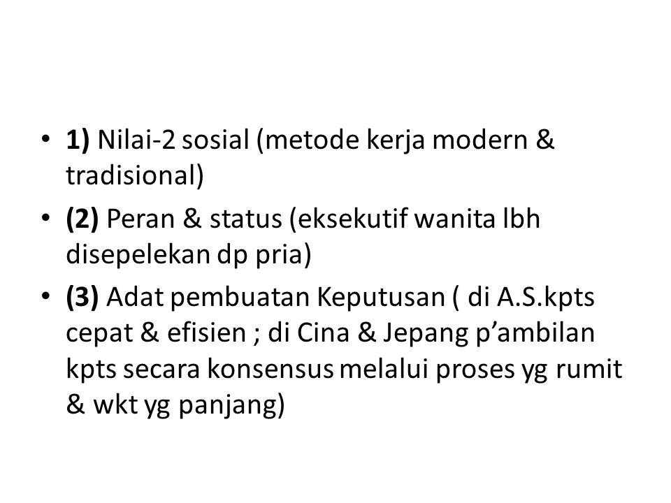 1) Nilai-2 sosial (metode kerja modern & tradisional)