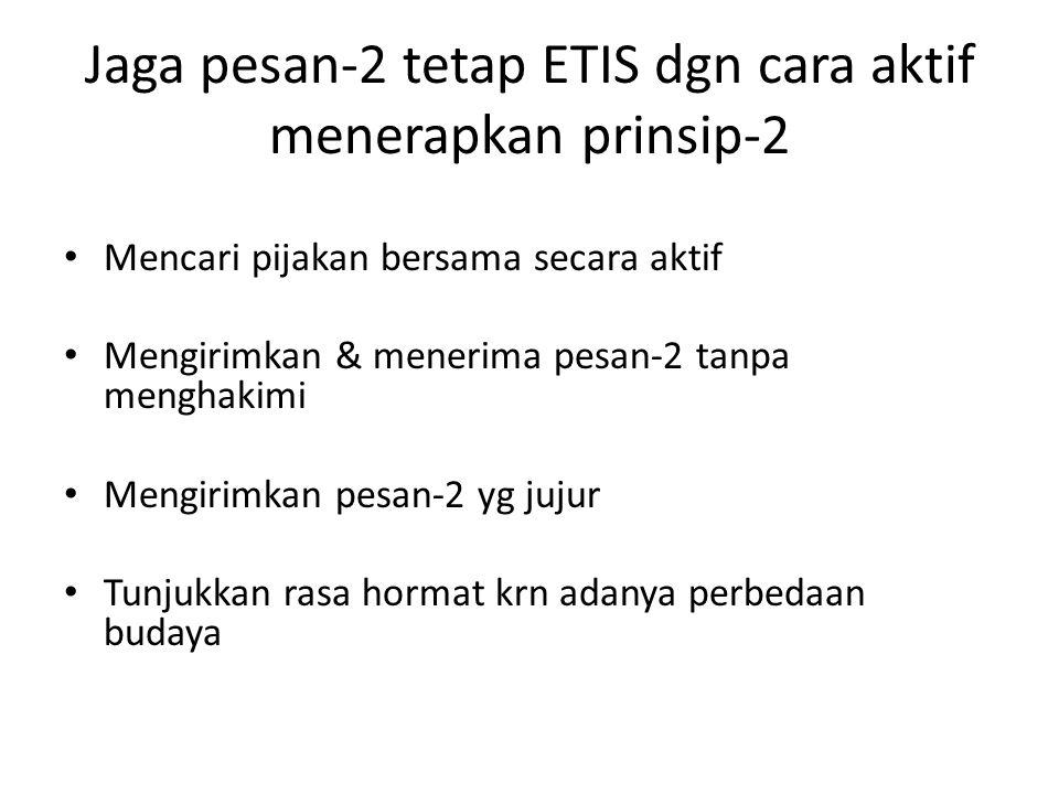 Jaga pesan-2 tetap ETIS dgn cara aktif menerapkan prinsip-2