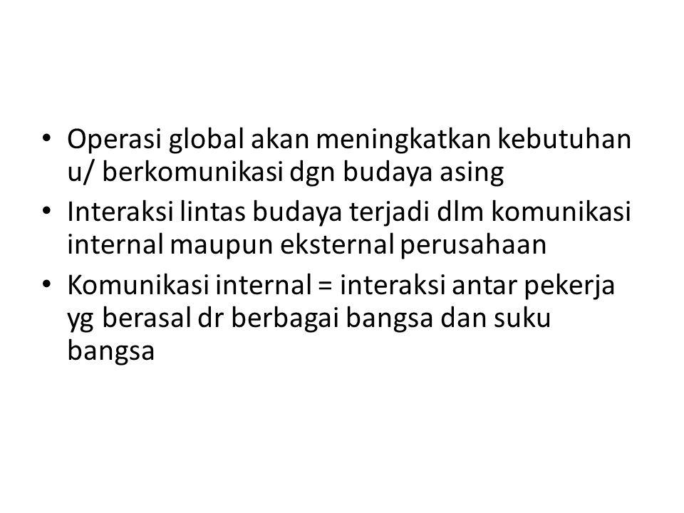 Operasi global akan meningkatkan kebutuhan u/ berkomunikasi dgn budaya asing