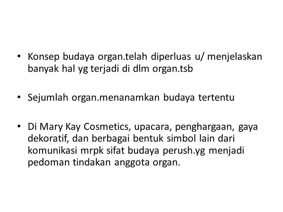 Konsep budaya organ.telah diperluas u/ menjelaskan banyak hal yg terjadi di dlm organ.tsb