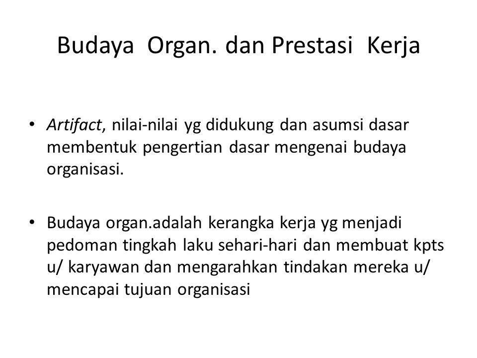 Budaya Organ. dan Prestasi Kerja