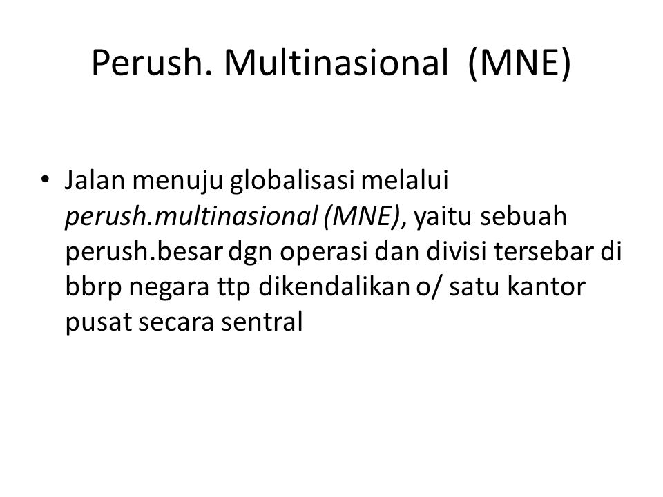 Perush. Multinasional (MNE)