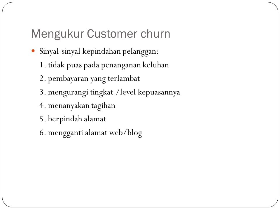 Mengukur Customer churn